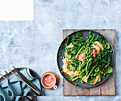 Udon noodle and greens salad
