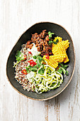 Black bean buddha bowl with creamy cashew dressing