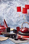Asian crockery in red and black