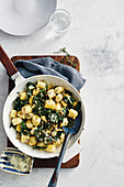 Ricotta gnudi with brown butter and silverbeet