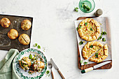 Zucchini slice Tarts - Jacket Potatoes with lemon, tuna and herb filling