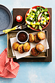 Beef and hidden vegetable Rissoles with fruity salad