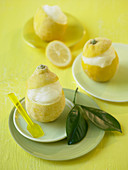 Lemon sorbet served in hollowed out, frozen lemons