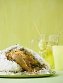 Lemon and herb chicken in a salt crust