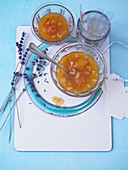 Apricots and almond jam with lavender