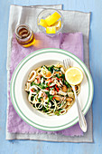 Spaghetti with seafood, rocket and chilli