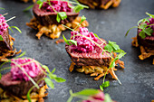 Venison rostis with beetroot salad