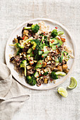 Chilli beef stir-fry with broccoli and peanuts