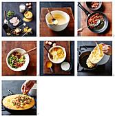 Maisbrot mit Speck und Käse in der Pfanne zubereiten