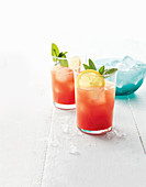 Watermelon lemonade with rum and vodka