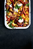 Spicy potato and chorizo bake