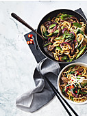 Chinese five spiced beef with wok-tossed noodles