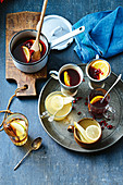 Warm orange and pomegrante red wine sangria