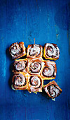 Pumpkin cinnamon rolls (top view)