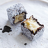 Light lamingtons with dark chocolate