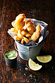 Beer-battered flathead with hand-cut chips and avocado dip