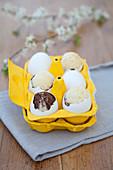 Kuchen in der Eierschale im gelb gestrichenen Eierkarton