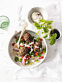 Lamb Kibbeh with mint and broad bean salad