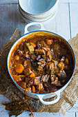 Beef goulash with potatoes and carrots