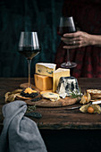 A cheese plate with red wine (Rioja Reserva)