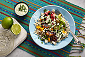 A vegetarian fajita bowl with honey and chipotle