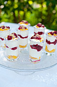 Summery layered desserts with peaches and raspberries on an outdoor table