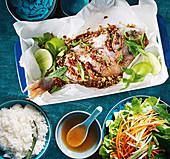 Vietnamesischer Fisch gedünstet in Zitronengras und Chili