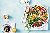 Salat mit gegrillter Wassermelone und Granatapfel-Dressing