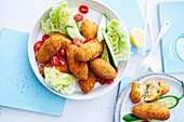 Salmon and corn croquettes