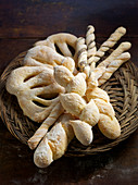 Various types of bread: Fougasse, Grissini and Pain d'Epi