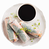 Salmon, quinoa, avocado and vegie rice paper rolls