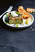 Turkish zucchini and haloumi cake