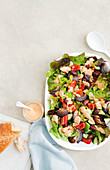 Greek style salad with fetta and tomato dressing
