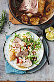 Roast lamb with lemon and garlic