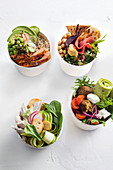 Four buddha bowl variations