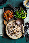 Buckwheat pasta with vegan putanesca sauce and grilled broccolini (vegan)