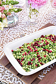 Tabbouleh with pomegranate seeds