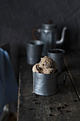 Espresso ice cream in a metal cup