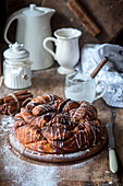 Babka with cinnamon and icing