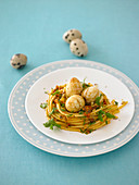 A pasta nest with quail's eggs for Easter
