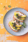 Low carb bread with cottage cheese and avocado