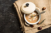 Cream of chestnut soup in a saucepan
