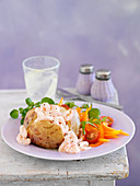 Baked Potatoe with prawns and Marie Rose Sauce