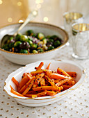Brussels sprouts with chestnuts and honey glazed carrots
