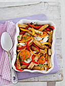 Egg Bake with pepper and french fries