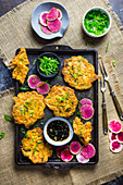 Kimchi Pancakes with Pickled Radishes