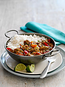 Lamb Dhansak with lentils and rice (India)