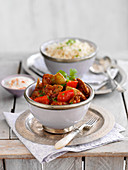 Lamb rogan josh with rice (India)