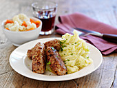 Mustard sausages with colcannon potatoes