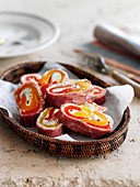 Spicy pinwheels made of ham, cream cheese and peppers